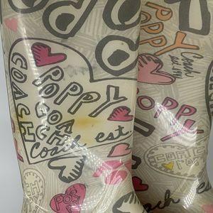 Coach Shoes - Coach Poppy Rain Boots Graffiti Heart Size 8